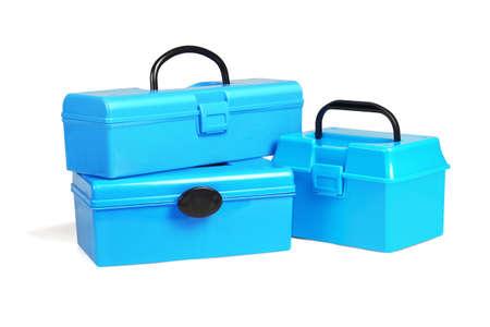 Three Plastic Tool Boxes on White Background