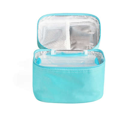 Plastic Box in Thermal Bag on White Background