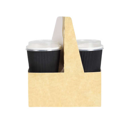 Takeway Drinks in a Holder with Handle on White Background