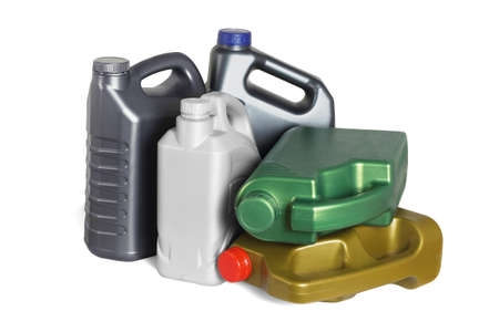 Assorted Plastic Containers for Engine oils on White Background Archivio Fotografico