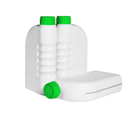 Plastic Containers for Engine Lubricants on White Background 免版税图像