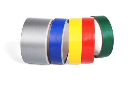 Row of Colour Cloth Tapes on White Background