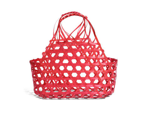 Red Bamboo Basket on White Background