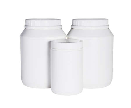 Three Plastic Containers For Health Food on White Background 免版税图像