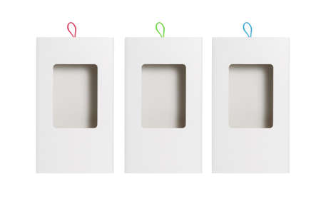 Paper Box with Plastic Transparent Window on White Background 免版税图像