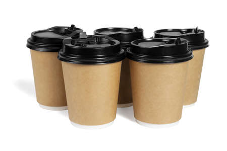 Group of Paper Coffee Cups on White Background