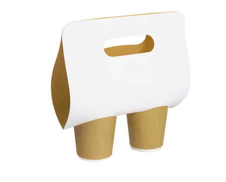 Paper Cups and Holder With Handle on White Background