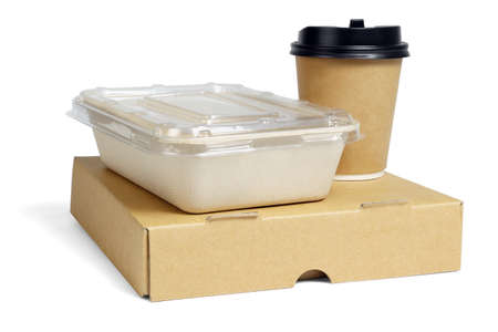 Coffee Cup and Food Boxes on White Background 免版税图像