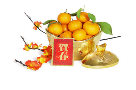 """Mandarin Oranges in Gold Ingot Containers With Plum Blossom for Chinese New Year Decoration - Translation """" Happy Spring Festival"""""""