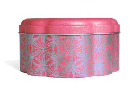 Chiese New Year Metal Container for Cookies on White Background 免版税图像