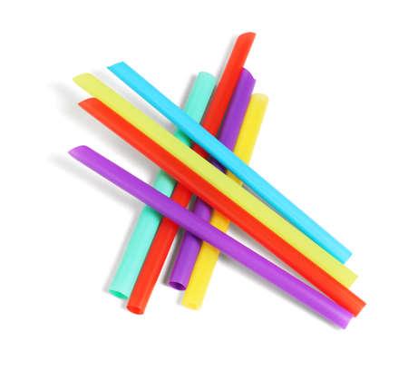 Colorful Plastic Drinking Straws on White Background 免版税图像