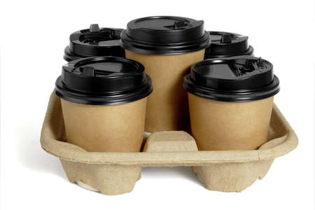 Paper Coffee Cups in Takeaway Container Tray on White Background