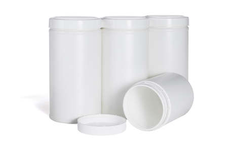 Four Plastic Containers on White Background