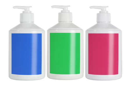 Plastic Containers For Cosmetic Product With Color Labels on White Background 免版税图像