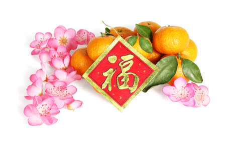 Mandarin oranges With Plum Blossoms and Good Fortune Greeting Card For Chinese New Year - Translation