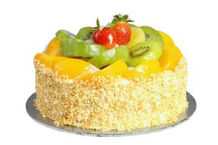 Home Baked Fruits Cake on White Background