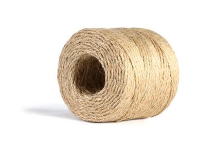 Roll of Hemp Rope Lying on White Background