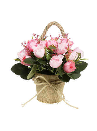 Decorative Potted Plastic Flowers on White Background 免版税图像