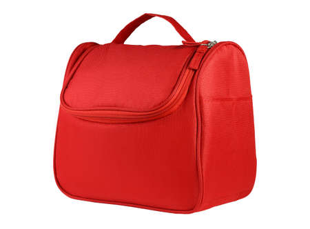 Red Hand Bag with Handle on White Background
