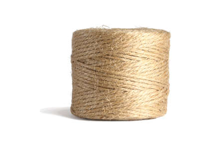 Roll of Hemp Rope Standing on White Background