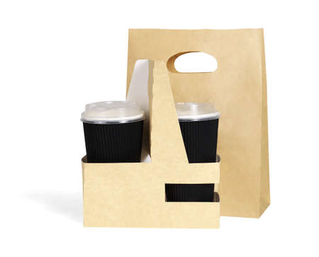 Takeaway Paper Cups and Bag on White Background 免版税图像