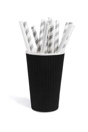 Paper Drinking Straws in Cup on White Background