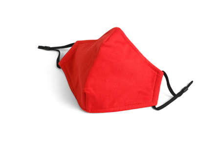 Red Reusable Fabric Face Mask on White Background
