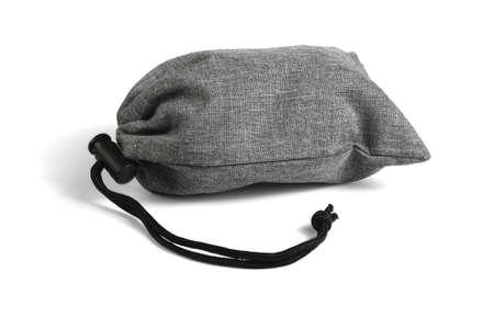 Gray Drawstring Bag Lying on White Background 免版税图像