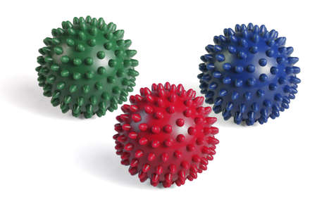 Colorful Massage Rubber Balls With Spikes on White Background