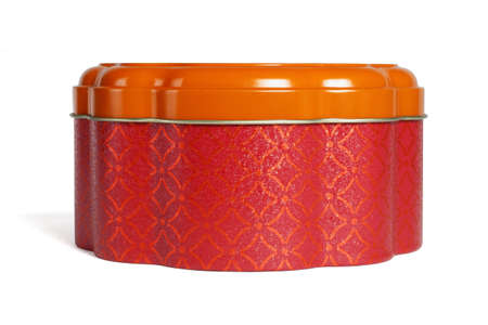 Chinese New Year Metal Gift Box for Cookies on White Background