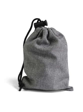 Gray Drawstring Bag on White Background