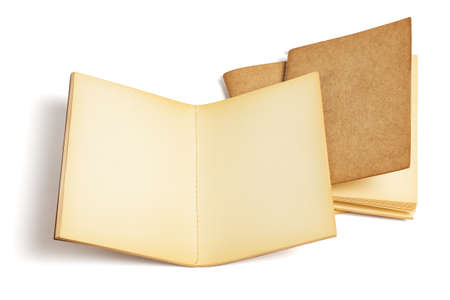 Three Old Blank Note Books on White background