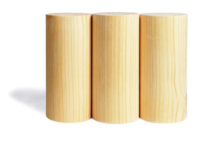 Three Wooden Cylindrical Blocks in a Row on Whie Background