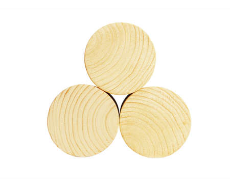 Stack of Three Wooden Cylindrical Bocks on White Background. Side View