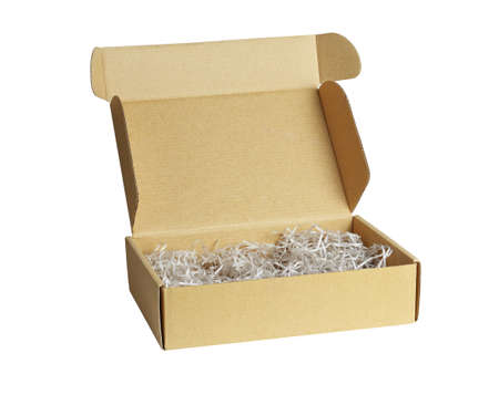 Shredded Paper in Brown Box on White Background