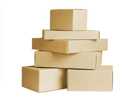 Stack of Paper Boxes on White Background 免版税图像