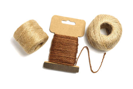 Rolls of Jute twine Rope on White Background