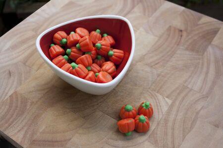 orange pumpkins Halloween candy Stock Photo - 7911321