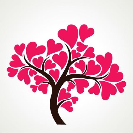 corazon rosa: amante de los �rboles con hojas de color rosa en forma de coraz�n Foto de archivo