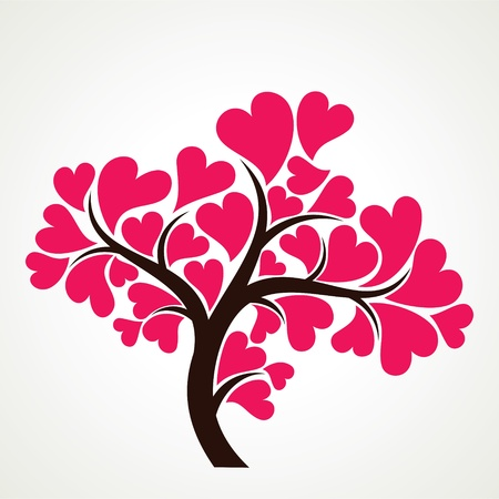 lover tree with pink heart shape leaf
