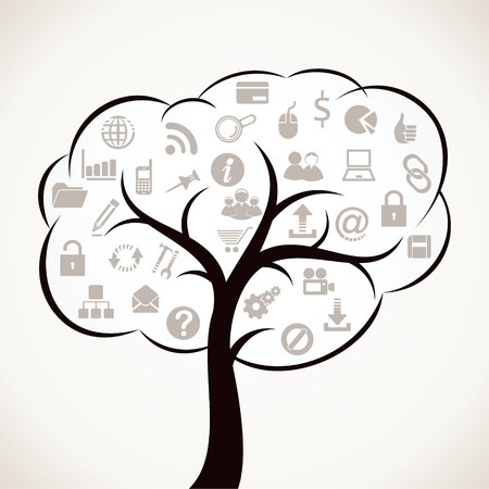 tree with different web icon Stock Photo - 16774460