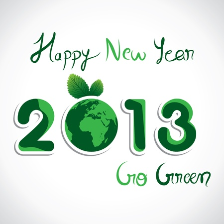 go green message show new year 2013 stock vector Stock Vector - 16845679