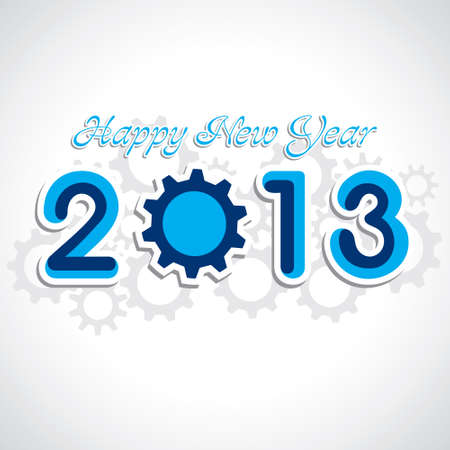 blue gear new year 2013 stock vector Stock Vector - 16845626