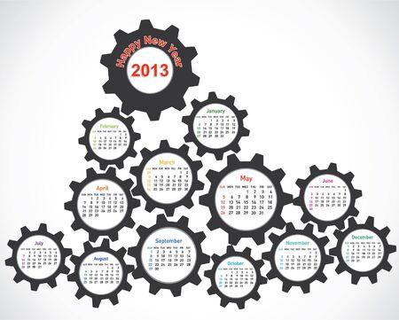 new year calendar 2013 design with gear Stock Vector - 16845703