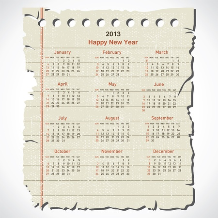 new year 2013 calendar design in retro paper stock vector Stock Vector - 16845702