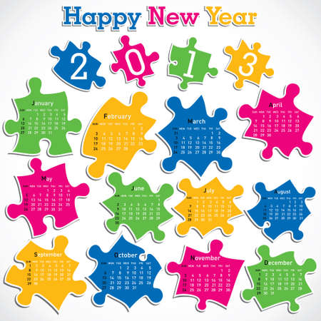 new year calendar 2013 design with puzzle peices Stock Vector - 16845690