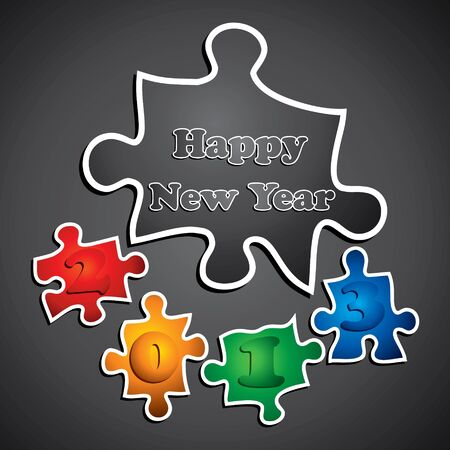 happy nerw year 2013 design with puzzle stock vector Stock Vector - 16845653