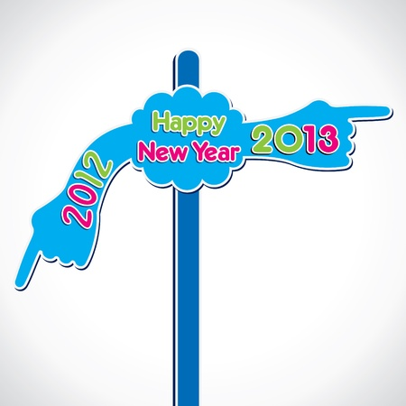 sign board show move to new year 2013 Stock Vector - 16845612