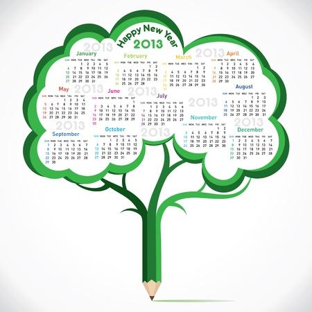 new year calendar 2013 in pencil tree stock vector Stock Vector - 16845704