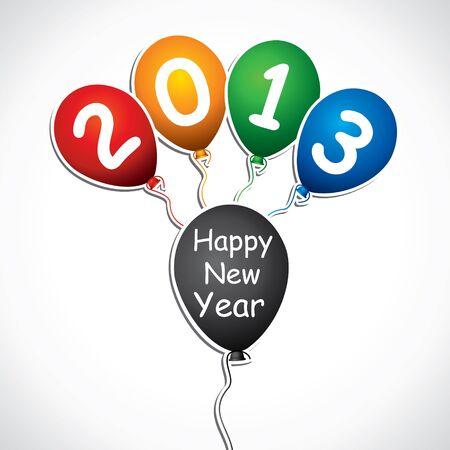 happy nea year 2013 design with colorful balloon stock vector Stock Vector - 16845579